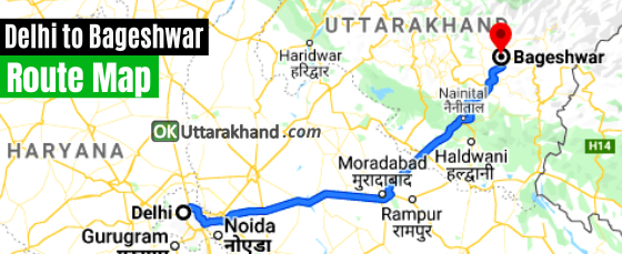 how to reach bageshwar from delhi